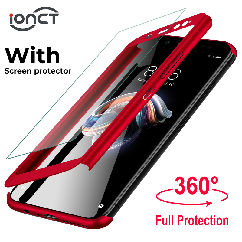 iONCT 360 Full Protective Phone case For Xiaomi redmi 4X 4A 5 5A 6 6A Cases For Redmi note 5 Case 5A 5pro 6 pro Cover With Glass(China)