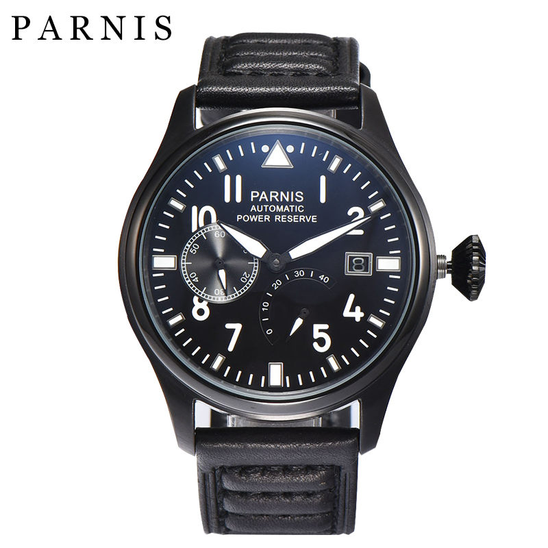 45mm Parnis Automatic Men Watch Auto Date Moon Phase Mechanical Watches for Men Power Reserve Movement Clock Relogio Masculino