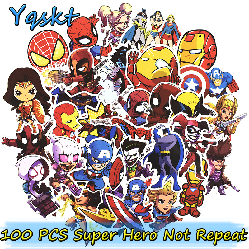 цена на 100 Pcs Super Hero Stickers for Laptop Skateboard Motorcycle Home Decor Car Styling Vinyl Decals Doodle Cool Waterproof Sticker