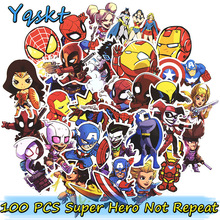 100 stks Super Hero Stickers voor Laptop Skateboard Motorfiets Interieur Auto Styling Vinyl Decals Doodle Cool Waterdichte Sticker
