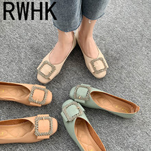 RWHK Single shoes female 2019 spring models square rhinestones buckle shallow mouth flat Korean version B069