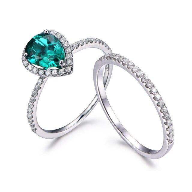 Myray 6x8mm Pear Shape Green Lab Treated Emerald Ring Set Simple Diamond Wedding Band