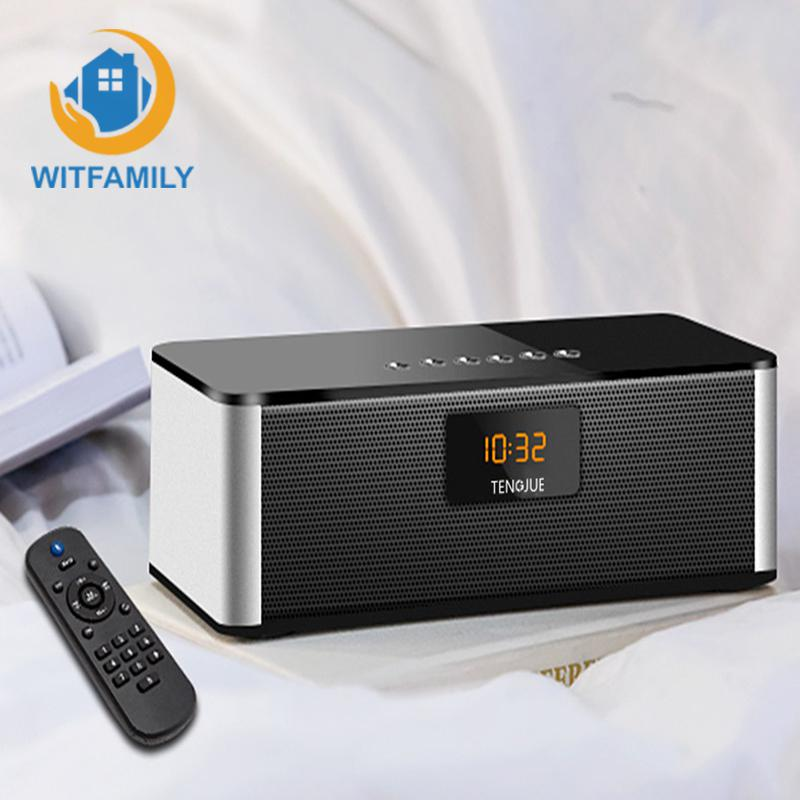 Wireless bluetooth speaker alarm clock with remote control FM radio digital clock microphone function of bedroom decoration