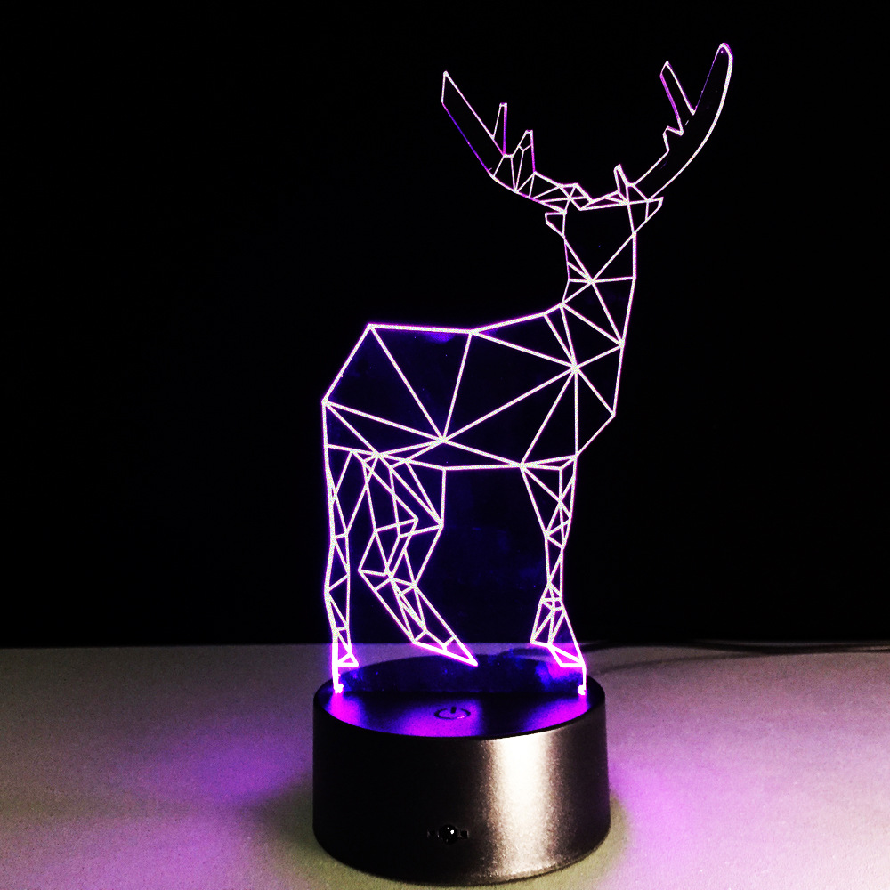 New Christmas present 3D reindeer figure modern creative small desk led lamp acrylic visual stereo fawn lamp romantic gift A81 image