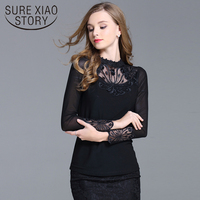 2017 New Arrivals Spring Fashionable Lace Blouse Shirt Female Long Sleeved Stand Collar Korean Style Slim
