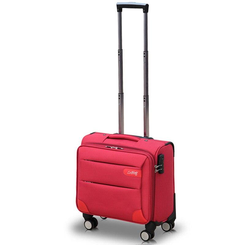 14 дюймов мини посадкой универсальные диски тележки для багажа коммерческих Ткань Оксфорд багажа женский