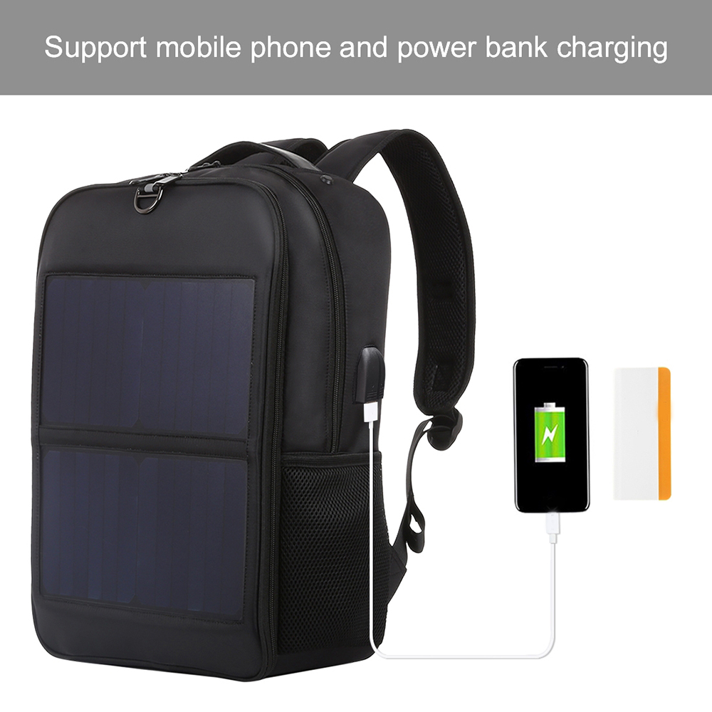 HAWEEL Solar Backpack 14W Solar Panel Powered Backpack Laptop Bag Water-resistant Large Capacity With External USB Charging Port