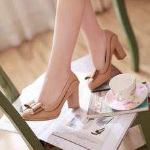 Big Size 34-43 Fashion Sexy Round Toe High Heel Shoes Vintage Pumps 2017 New Summer Bow Shoes Platform Pumps for Women