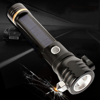 Solar Powered LED Flashlight Waterproof Safety Hammer Torch Light Max 500M Lighting for Outdoor Camping Hiking Car Emergency