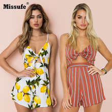 4a21d3af09 Missufe Hollow Out Bow Lemon Striped Print Jumpsuit Women Summer Backless Sexy  Rompers Beach Playsuit Female Short Overalls 2018