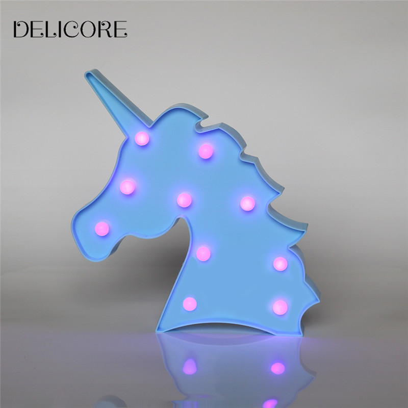 DELICORE Purple Light Unicorn Head Led Night Lights Animal Marquee Lamps On Wall For Chi ...