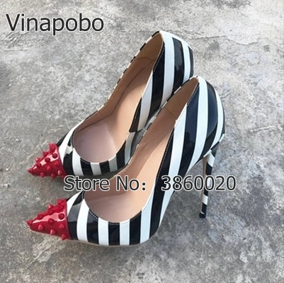 Vinapobo <font><b>2018</b></font> spring <font><b>sexy</b></font> fashion rivets new high <font><b>heels</b></font> 12cm/10cm/8 stilettos slip on pumps striped <font><b>sexy</b></font> party <font><b>shoes</b></font> lady pumps image