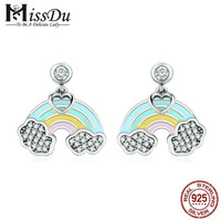 925 Sterling Silver Fashion Heart Colorful Enamel Rainbow Stud Earrings for Women Fashion Earrings Fine Jewelry SCE471