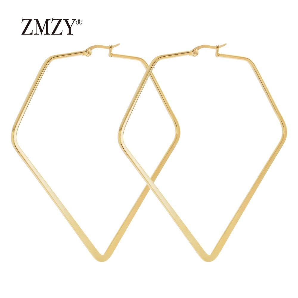 ZMZY Fashion Statement Gold Stainless Steel Earrings for Women Accessories Geometric Punk Jewelry Drop Dangle Earring