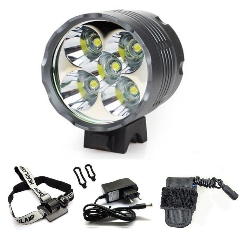 WasaFire 5 * T6 led éclairage vélo Lanterne Phare 7000 Lumens bicyclette répéteur hdmi Projecteur + 8.4 V Chargeur + 8400 mAh bloc-pile