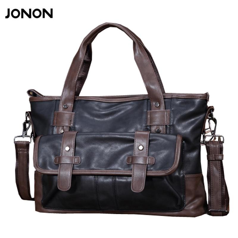 Jonon Brand Patchwork Men Handbag High Quality PU Shoulder Bags Men Travel Bags Male Bag Shoulder straps long
