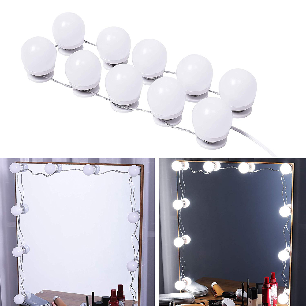 LED Makeup Light kit,6/10/14/16Touch Dimmable Mirror Bulbs, Hollywood Vanity Lighting lights for Wall,Dressing table bathroom 4