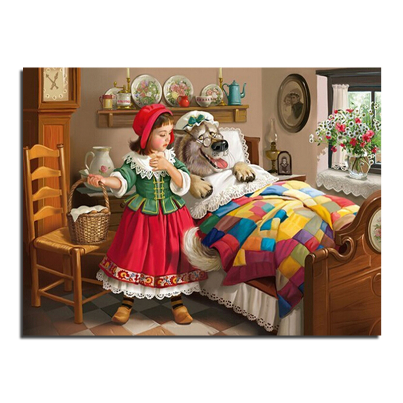 Little Red Riding Hood 40X30 Wholesale DIY Diamond Painting Home Decoration Rhinestone Wall Stickers Embroidery Needlework