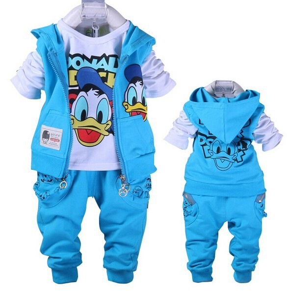 4Color 2017 Donald Boys&Girls Clothes set Baby Baby Girls Cartoon Cottom Clothing set,Kids Spring&Autumn 3Pcs Sport Clothes suit