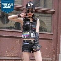 Наивысшего качества женский жилет в стиле панк горячие шорты 2 шт Джинсовый комплект Готический Печатный Повседневный джинсовый костюм анс