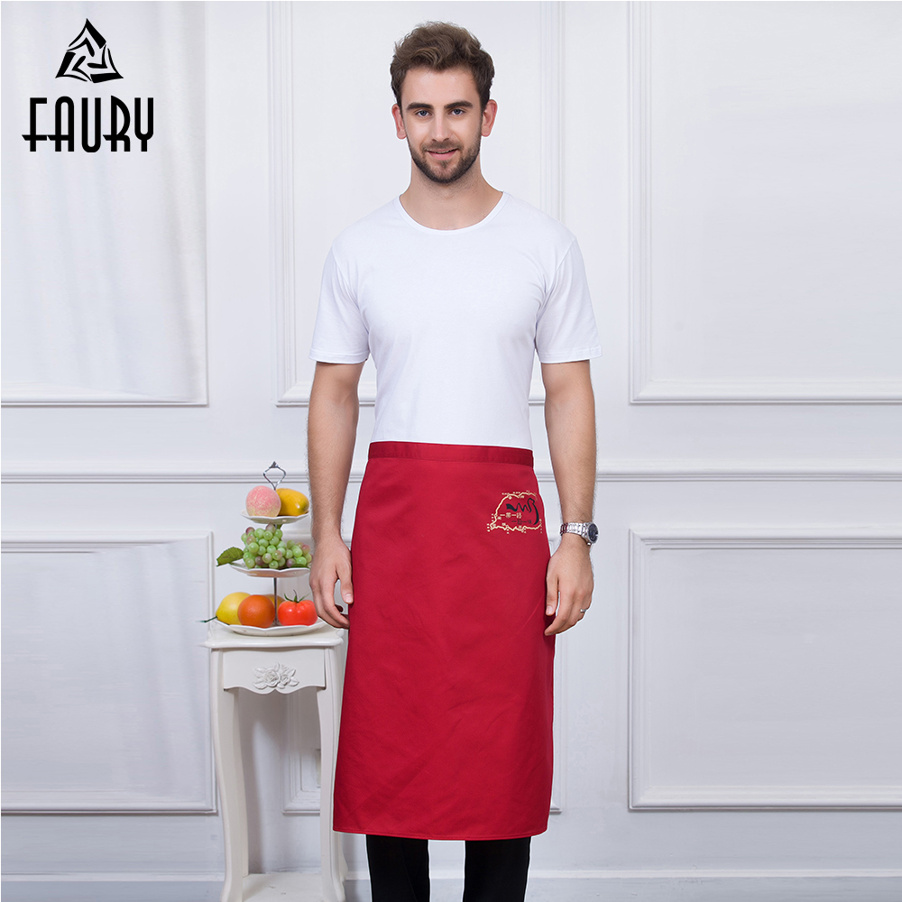 5 Colors High Quality Wholesale Unisex Embroidary Food Sevice Kitchen Coffee Shop Bakery Chef Waiter Cleaning Work Wear Aprons