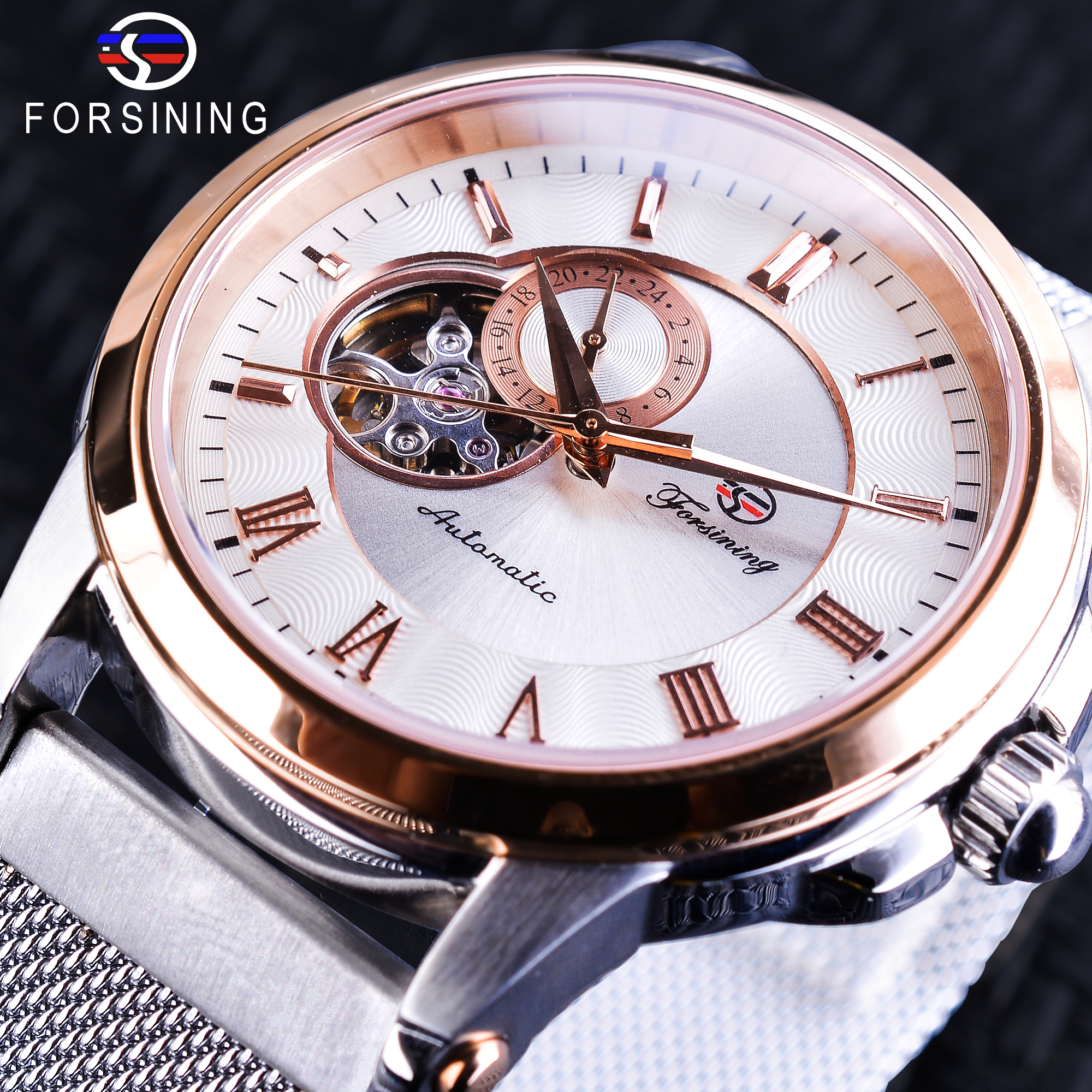 Forsining Mechanical Watches Luxury Rose Gold Case Silver Stainless Steel Unique 24 hours display Fashion Men Automatic WatchForsining Mechanical Watches Luxury Rose Gold Case Silver Stainless Steel Unique 24 hours display Fashion Men Automatic Watch