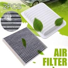 For Toyota 2pcs Engine Cabin Air Filter Set 87139-0D030 87139-YZZ08 Yaris Matrix Corolla Scion xD 2009-2017