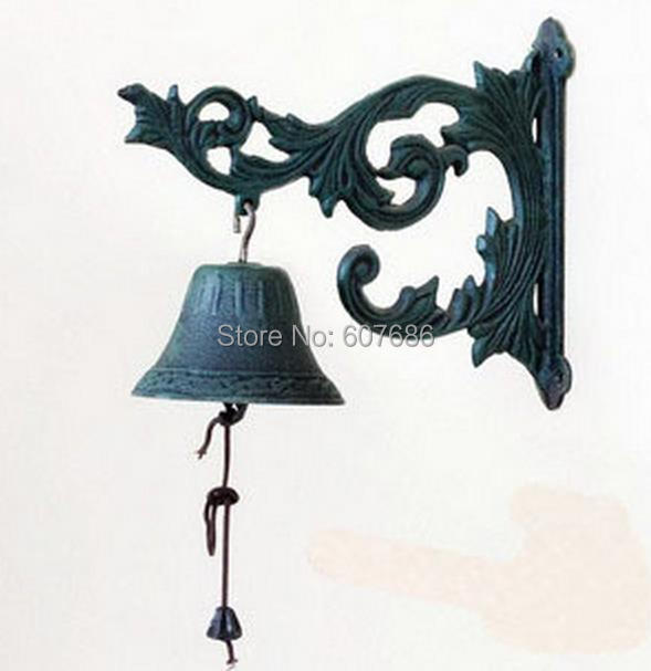 Cast Iron French Style Scroll Flower Bracket Door Bell Patio Garden Gate Bell Hook Yard Outdoor Home Decor Accent Free Shipping