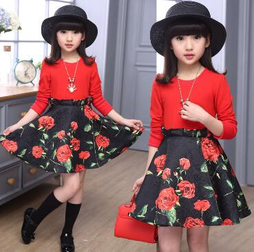 Весенне-осенние платья белого и красного цвета с длинными рукавами для девочек, размер 120-160, платье для подростков одежда с цветочным принто...