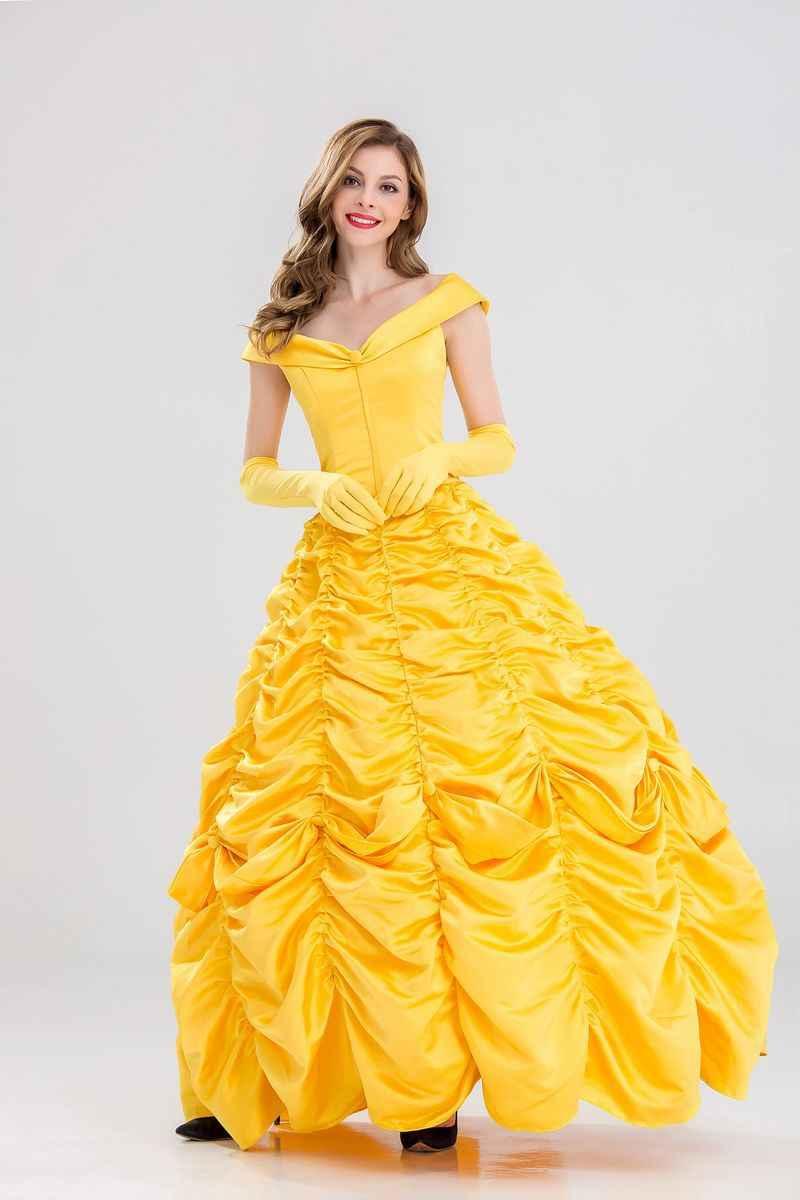 Nuevo disfraz de fantasía de Halloween COSFANS, Vestido largo de disfraz de princesa Bella para adultos, disfraz de La Bella y La Bestia del Sur