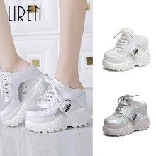 цена Liren 11cm Women Slippers Platform Slides Sequined Wedge Slippers High Ladies Shoe Wedges Slippers Lace-up Summer Shoes Woman в интернет-магазинах