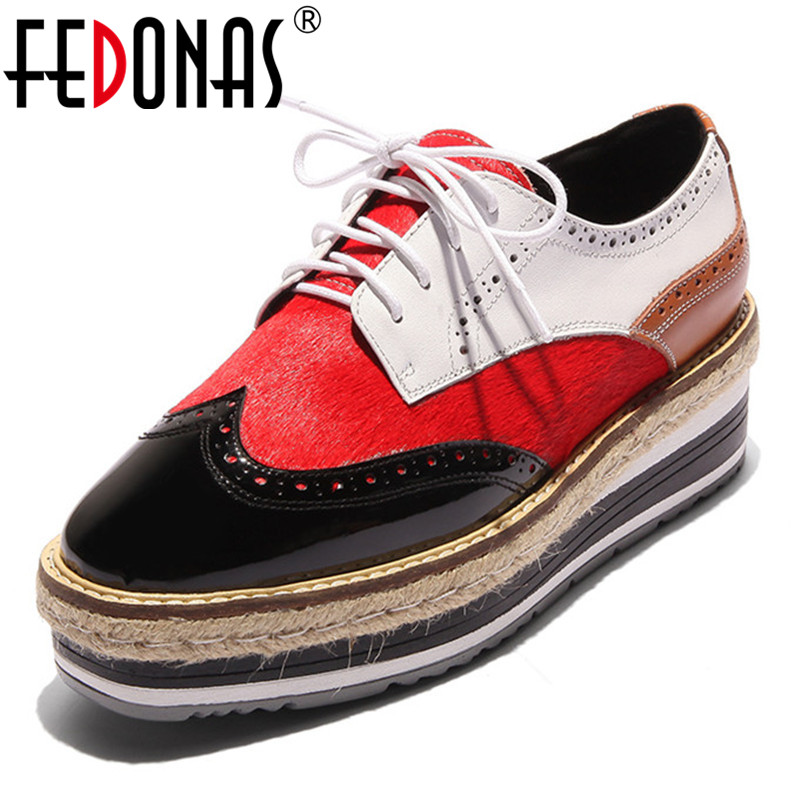 FEDONAS New Pumps Women Patchwork Lace Up Spring Autumn Martin Shoes Woman Wedges High Heels Round Toe Casual Shoes Ladies Pumps new high quality women shoes solid black spring autumn brogue shoes woman s fretwork lace up flat heels round toe oxfords shoes