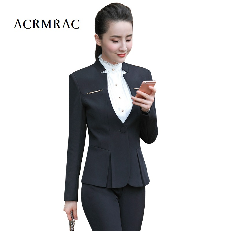 ACRMRAC Women Formal Wear Suit Long Sleeves Solid Color Slim OL Pant Suits Business Attire