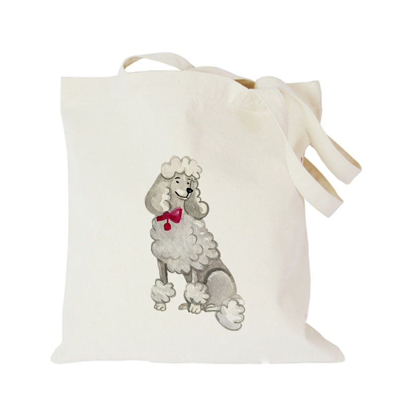 Pet dog series canvas bag custom tote bag customized eco bags custom made shopping bags with logo  Dachshund Shepherd Dog Poodle (11)
