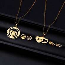 Rinhoo 1Set Gold Stainless Steel Hollow Heart Flower Shape Lettering Pendant Necklace Earrings Jewelry Set Mothers Day's Gift(China)