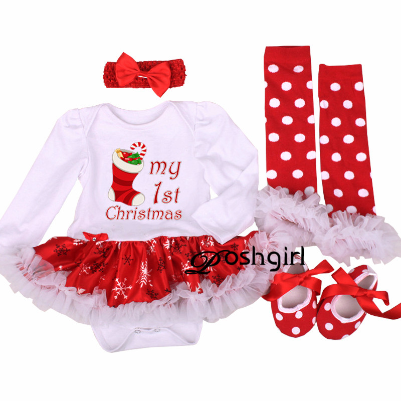 My First Christmas Baby Girl Clothes Set Lace Romper Dress Headband Leg Warmers Crib Shoes Girls Christmas Outfits Boutique Gift 2016 new arrival baby girls outfits halloween baby kids boutique baby girl halloween sets with necklace and headband leg warmers