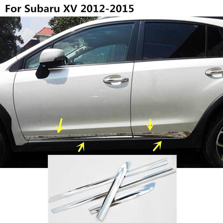 Car styling Side Door body trim stick ABS chrome Strip Molding Stream panel bumper 4pcs For Subaru XV 2012 2013 2014 2015