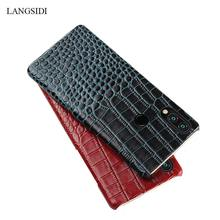 цена на For redmi note 7 Cover Genuine Leather case cover for Xiaomi Redmi Note 7 pro Crocodile Grain back cover For Redmi Note 5 Shell