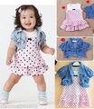 Baby Girls Summer Dress + shirt Kids Clothes 2Pcs Set Denim Waistcoat Outfits