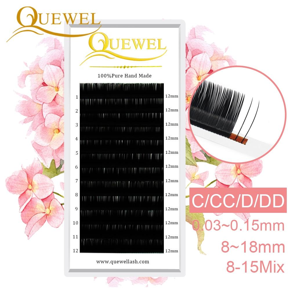 Quewel Individual Eyelash Extensions False Lash Mink Lashes Extension Professional Silk Wholesale Single EyeLashes Makeup Cilia