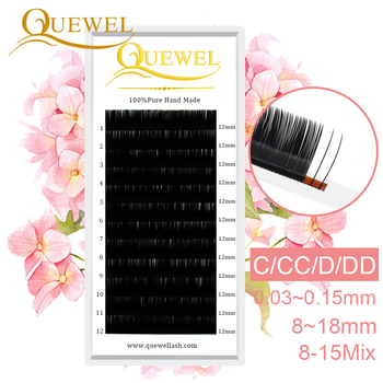 Quewel Individual Eyelash Extensions False Lash mink Lashes Extension Professional Silk Wholesale Single EyeLashes Makeup cilia