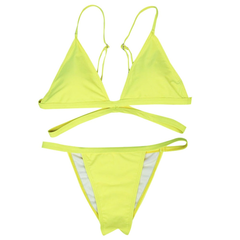 2018 Brand Yellow Women Sexy Brazilian Thong Bikini Swim Set Swimwear zqnXrGRec2