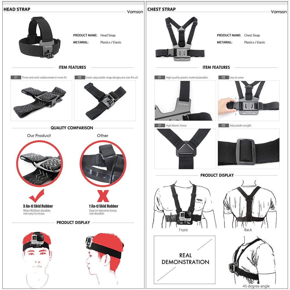 Image 5 - Vamson for Gopro 7 Accessories kit for xiaom yi 4k for gopro hero 7 6 5 4 3 kit mount for SJCAM SJ4000 / eken h9 tripod VS56-in Sports Camcorder Cases from Consumer Electronics