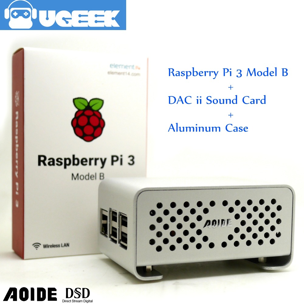 цена на Aoide UGEEK DAC II Hifi Sound Card+Raspberry Pi 3 Model B+Aluminium Case Kit|ES9018K2M|384 kHz/32-bit|Support DSD format&IR|3B+
