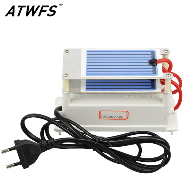 ATWFS Ozonizer 7g Ozone Generator Alternator 220v EU Plug Ozone Plate Sterilizer Air Cleaner Ozone Ceramic Plates Air Purifier