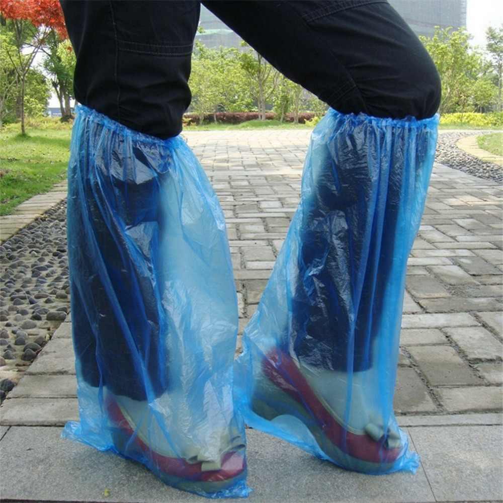Wegwerp Overschoenen Blauw Regen Schoenen en Laarzen Cover Plastic Lange Schoen Cover Clear Waterdicht Anti-Slip Overschoen