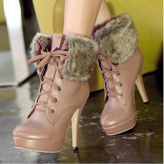 ФОТО 2014 New Fashion Female Artificial Fur High Heels Women Motorcycle Boots Women's Autumn Winter Martin Shoes Free Shipping Q815