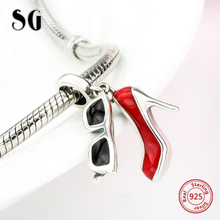цены SG luxury high heel shoes and glasses with enamel Silver 925 pandora Beads Fit Original pandora Bracelets Pendant jewelry gift
