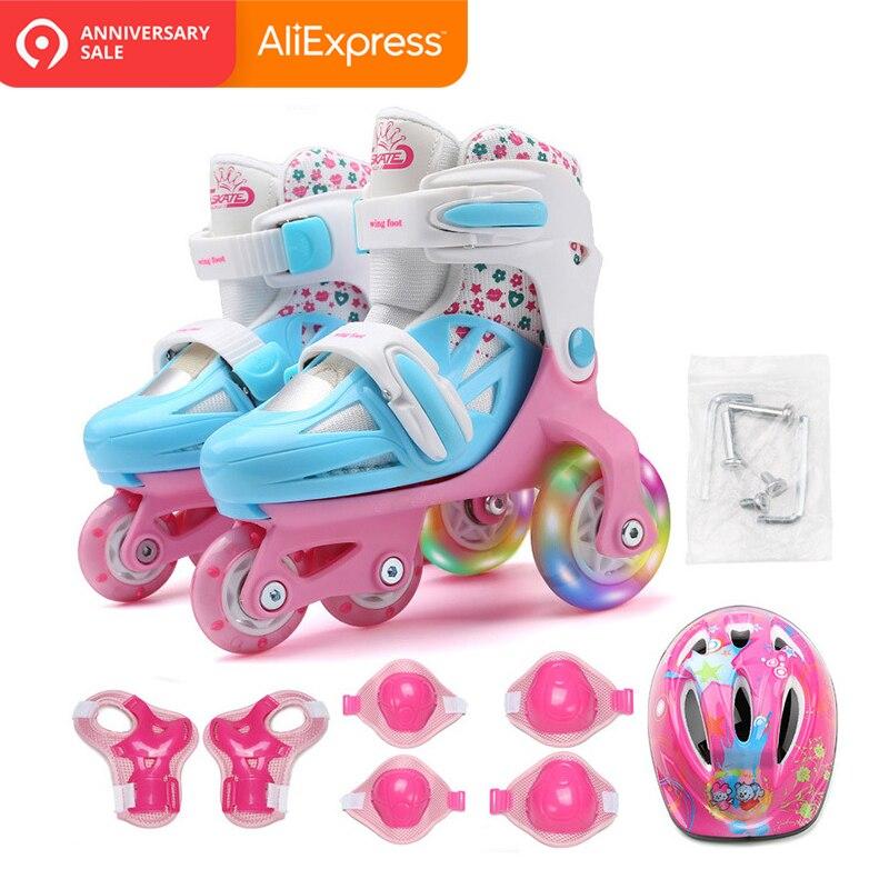 Enfants enfants belle équilibre Stable Slalom parallèle clignotant patin à glace Roller UNBreak chaussures réglable lavable pour garçon fille