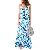 Casual Summer Beach Maxi Dress Sleeveless Sling Deep V Neck Asymmetrical Print Dresses Party Sexy Long
